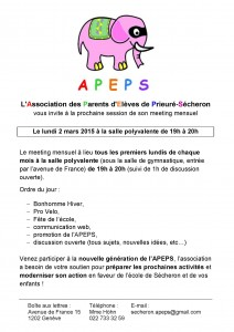 Affiche Meeting mensuel APEPS - 2015 03