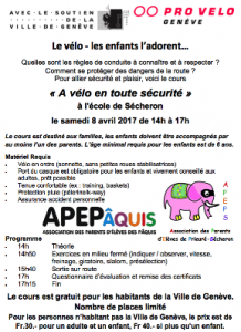 Flyer PRO VELO Secheron avril 2017