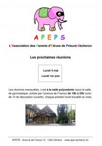 Affiche Meeting mensuel APEPS - 2015 planning mai juin