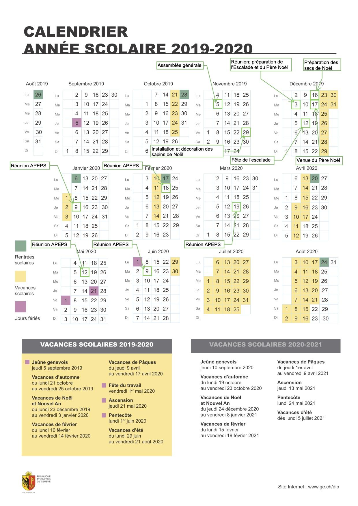 Calendrier APEPS 2019-2020